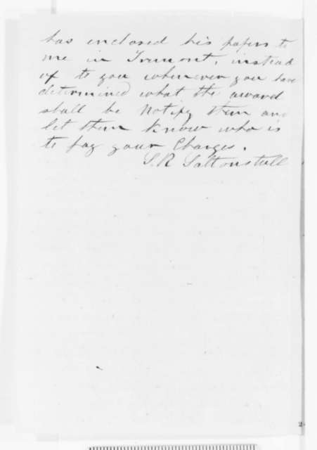 S. R. Saltonstall to Abraham Lincoln, Tuesday, February 21, 1860