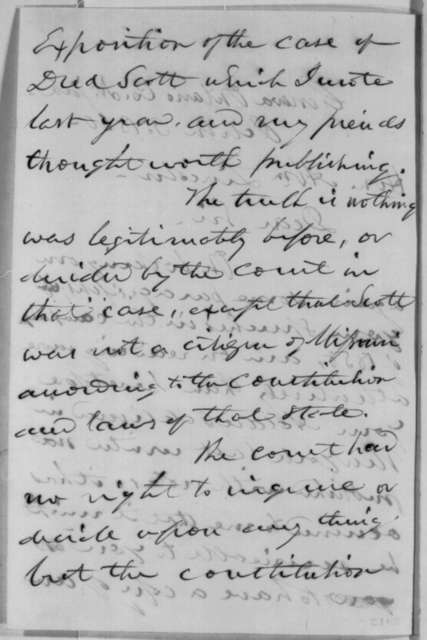 Samuel A. Foot to Abraham Lincoln, Wednesday, October 03, 1860  (Dred Scott case)