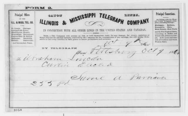 Samuel A. Purviance to Abraham Lincoln, Tuesday, October 09, 1860  (Telegram reporting election returns in Pennsylvania)