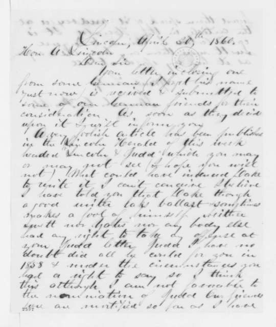 Samuel C. Parks to Abraham Lincoln, Friday, April 20, 1860  (Lincoln's letter to Judd)