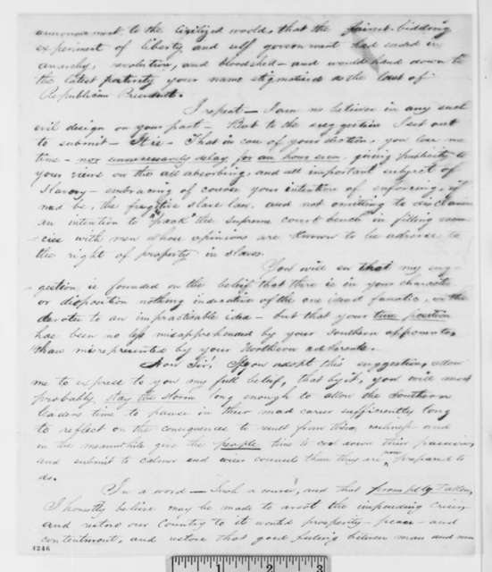 Samuel D. Morgan to Abraham Lincoln, Friday, November 02, 1860  (Bell supporter urges Lincoln to issue statement)