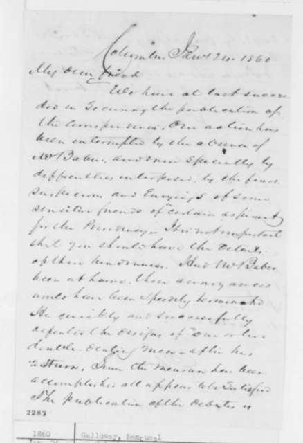 Samuel Galloway to Abraham Lincoln, Tuesday, January 24, 1860  (Debates)