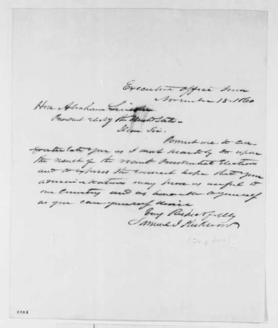 Samuel J. Kirkwood to Abraham Lincoln, Tuesday, November 13, 1860  (Congratulations)