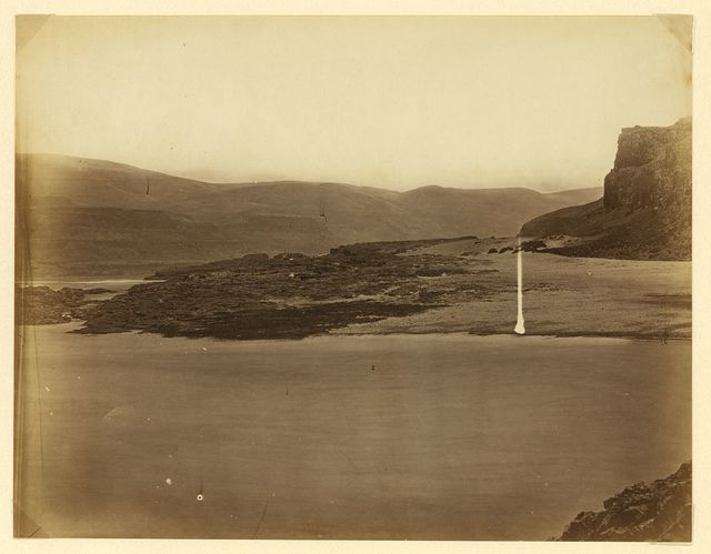 [Scene on the Columbia River at the Dalles with tipi in the middle distance]