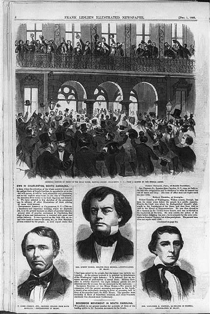 Secession meeting in front of the Mills House, Meeting Street, Charleston, S.C. [with portraits of Hon. James Chesnut, Jr., seceding Senator from South Carolina; Hon.Robert Toombs, Senator from Georgia; and Hon. Alexander H. Stephens, Ex-Senator of Georgia]