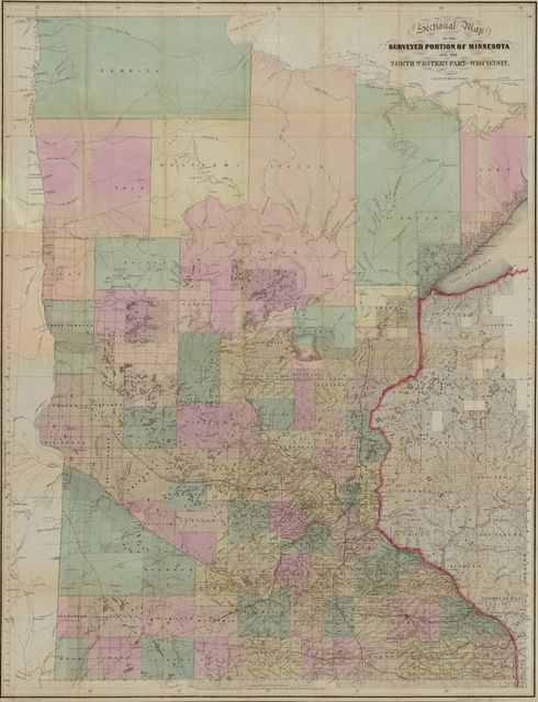 Sectional map of the surveyed portion of Minnesota and north western part of Wisconsin /