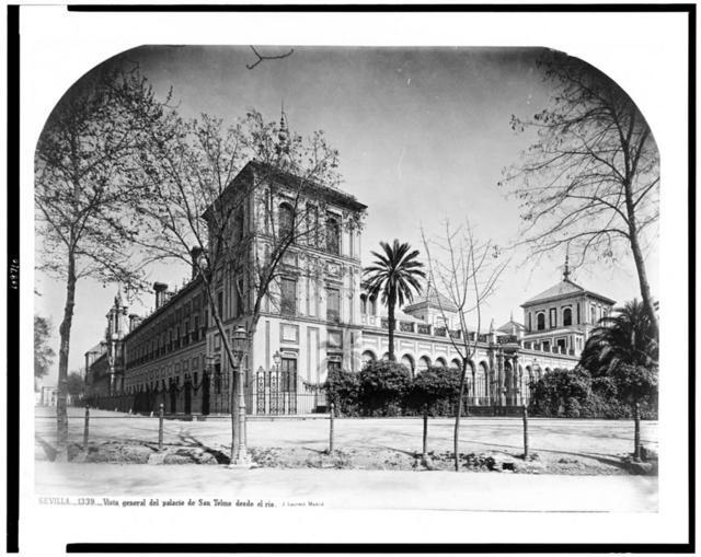 Sevilla. Vista general del palacio de San Telmo desde el rio / J. Laurent. Madrid.