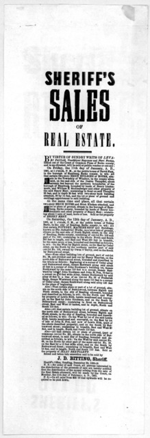 Sheriff's sales of real estate ... Seized and taken into execution and to be sold by J.D. Bitting, Sheriff. Sheriff's Office, Reading, December 22, 1860.
