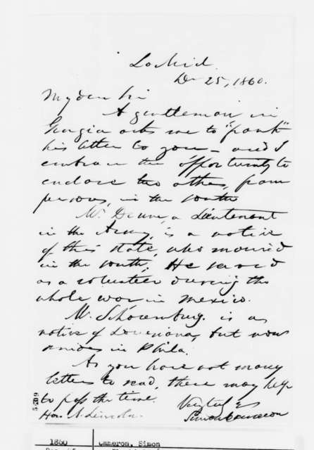 Simon Cameron to Abraham Lincoln, Tuesday, December 25, 1860  (Forwards letters)