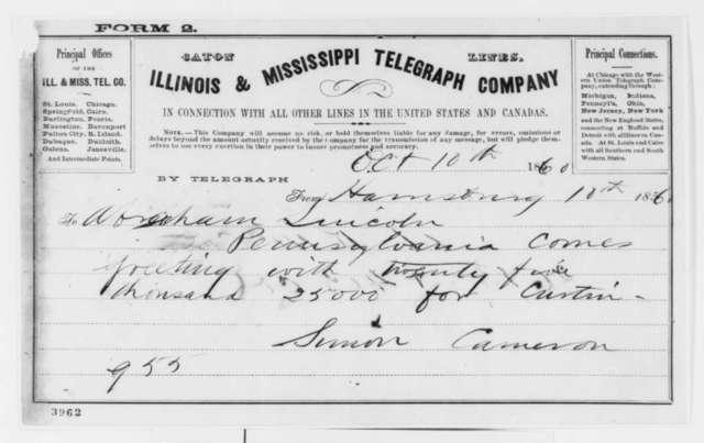 Simon Cameron to Abraham Lincoln, Wednesday, October 10, 1860  (Telegram reporting Pennsylvania election results)
