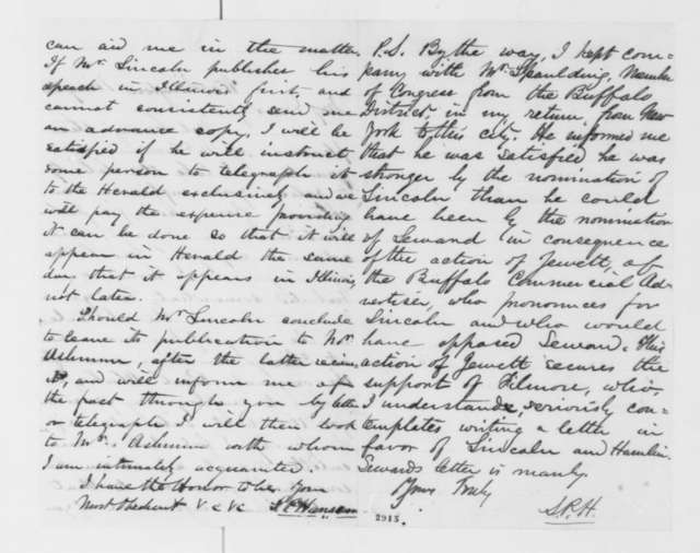 Simon P. Hanscom to William Kellogg, Saturday, May 26, 1860  (Wants copy of Lincoln's acceptance letter for publication)