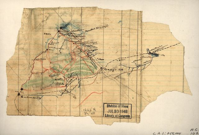 [Sketch of a portion of Orange County, north and west of Gordonsville to Rapidan Station].