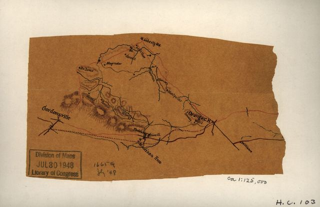 [Sketch of a portion of Orange County, Va. showing roads between Orange Court House, Gordonsville, and Liberty Mills].