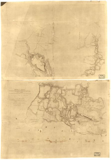 Sketch of country between Haxall's Landing and Charles City court house : reconnoissances [sic] under the direction of Brig. Genl. A.A. Humphreys, Comdg. Topl. Engr's. /