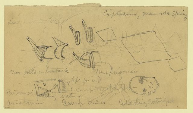 [Sketch of military rank epaulets, bust portrait, and outline of ships]