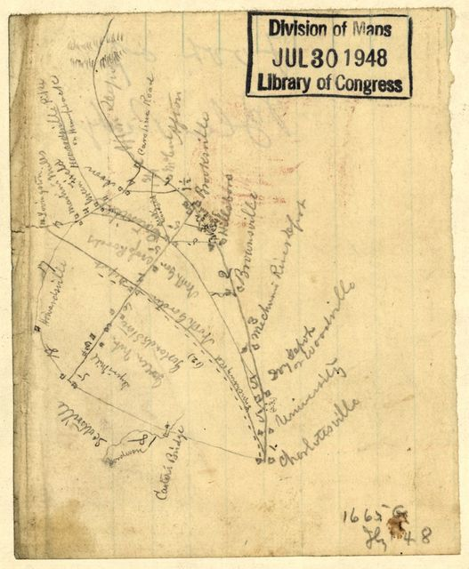 [Sketch of parts of Albemarle and Nelson counties, Virginia, showing road from Charlottesville to Scottsville, Lovingston, Howardsville, Afton, etc.].