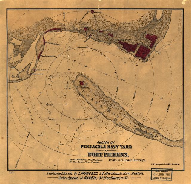 Sketch of Pensacola Navy Yard and Fort Pickens from U.S. coast surveys.