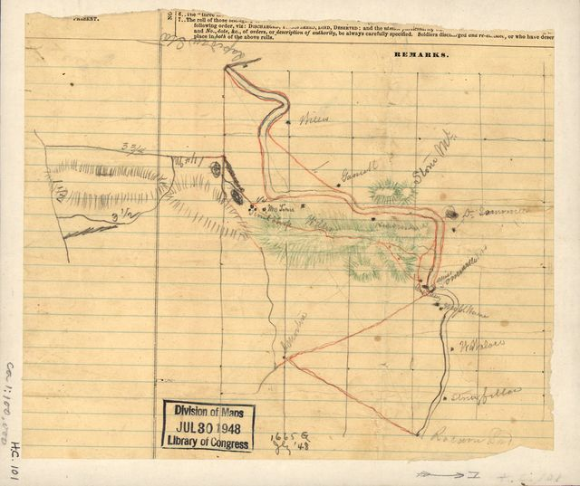[Sketch of the Rapidan River Station and Racoon Ford in Orange County, Va.].