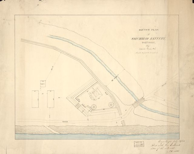 Sketch plan of Columbiad Battery, Fort Holt, Ky. [opposite Cairo, Ill.].