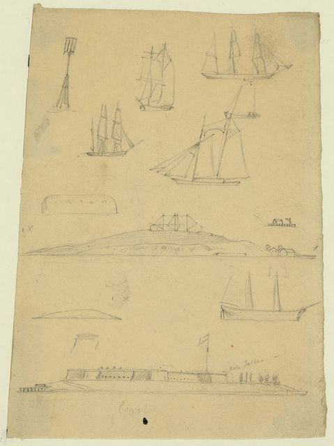 [Sketches of ships and forts]