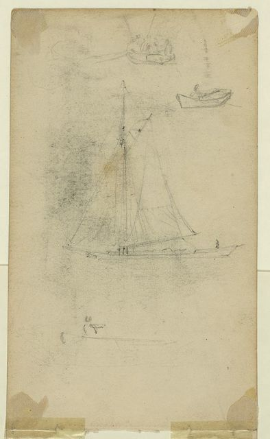 [Small sailboat and rowboats]