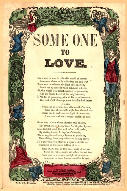 Some one to love. H. De Marsan, Publisher, 38 & 60 Chatham Street, N. Y