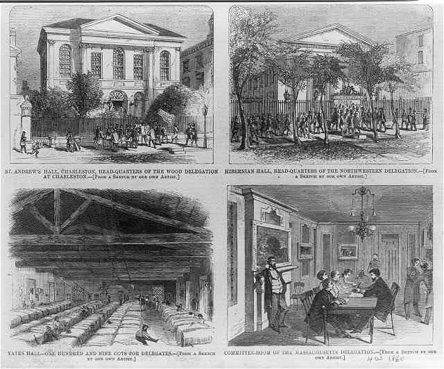 [South Carolina - Charleston - Democratic National Convention 1860. 4 scenes: St. Andrews Hal, exterior; Hibernian Hall, exterior; Yates Hall, interior, sleeping hall full of cots; Committee room of the Massachusetts delegation]