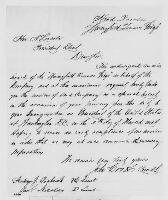 Springfield Illinois Zouave Greys to Abraham Lincoln, [December 1860]  (Volunteer to accompany Lincoln to Washington)