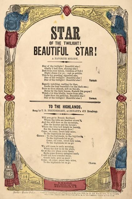 Star of the twilight! beautiful star! A favorite melody. H. De Marsan, Publisher, 38 & 60 Chatham Street, N. Y