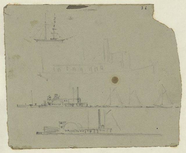 [Steamships and sailboats]