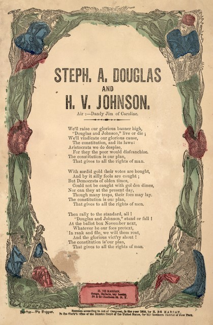 Steph. A. Douglas and H. V. Johnson. Air: Dandy Jim of Caroline. H. De Marsan, Publisher, 38 & 60 Chatham Streer, N. Y