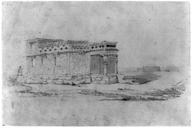[Stone building with portico, possibly a crypt or shrine, and in the distance, tents of nomads, northwest China]
