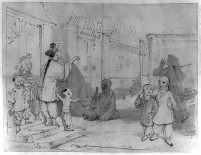 [Street scene, possibly outside a temple, with adults and children, some greeting others, a street crier with shoulder pole in the shadow on the right, and two pigs in the background]