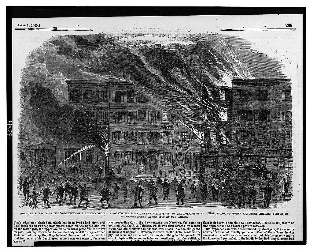 Terrible loss of life! Burning of a tenement-house in Forty-fifth Street, near Sixth Avenue, on the morning of the 28th inst. / / sketched on the spot by our artist.