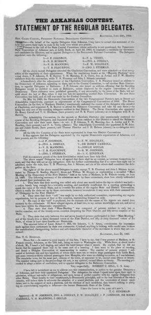 The Arkansas contest. Statement of the regular delegates. Baltimore. June 20th, 1860.