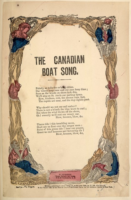 The Canadian boat song. H. De Marsan, ... 38 & 60 Chatham Street, N. Y. [c. 1860]