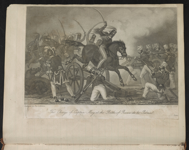 The charge of Captain May at the Battle of Resaca de la Palma / Designed by Jno. L. Morton ; Engd. by H.S. Sadd.