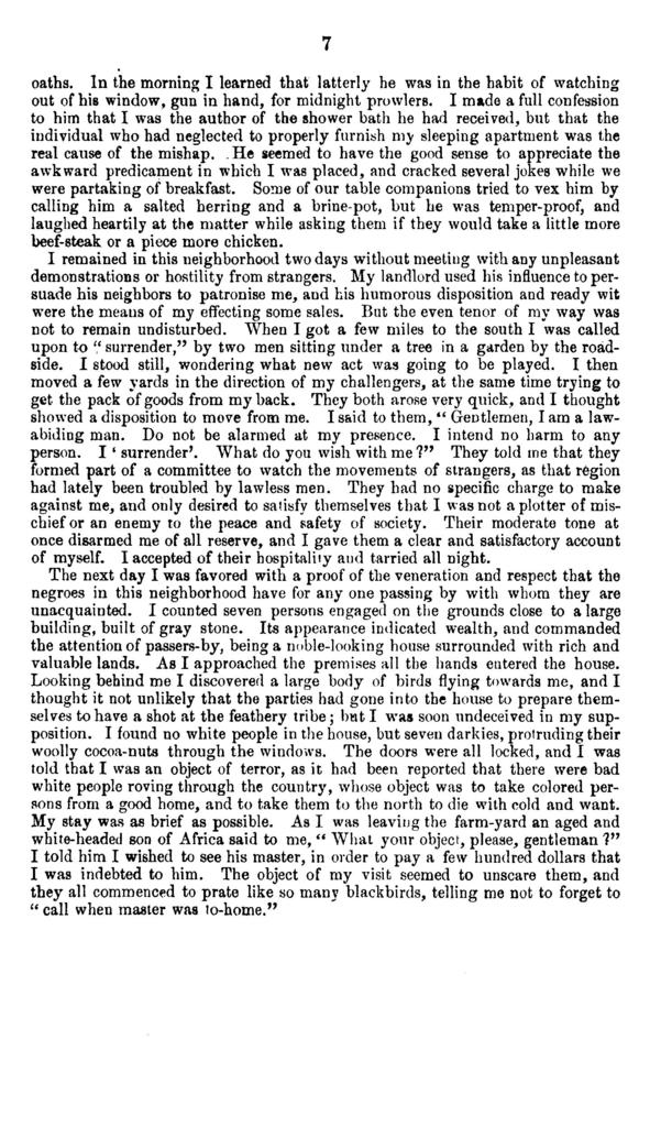 The curious adventures, painful experience, and laughable difficulties of a man of letters while traveling as a peddler in the South during the late Harper's Ferry excitement.