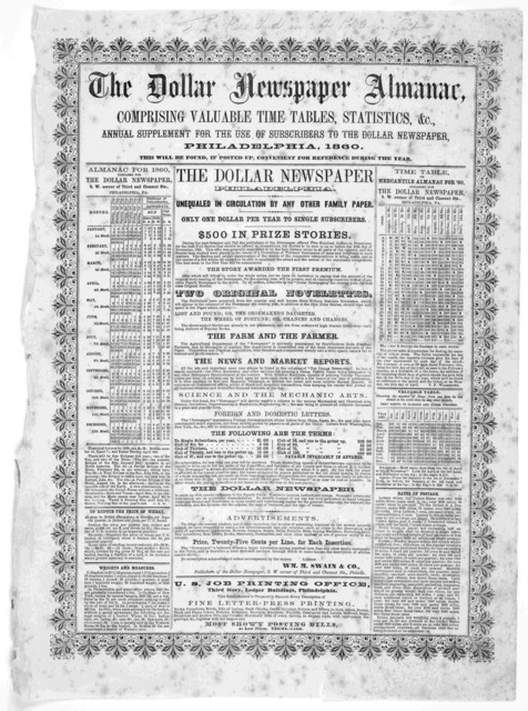 The dollar newspaper almanac, comprising valuable time tables, statistics, &c. annual supplement for the use of subscribers to the dollar newspaper. Philadelphia, 1860.