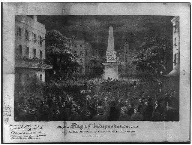 The first flag of independence raised in the South, by the citizens of Savannah, Ga. November 8th, 1860 / drawn by Henry Cleenewerck, Savannah, Ga. ; lithographed by R.H. Howell, Savannah, Ga.
