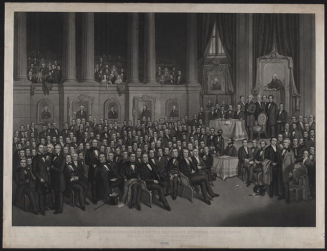 The general conference of the Methodist Episcopal church, south. Convened in Nashville, Tennessee, on the first day of May 1858 / drawing by A.F. Bellows, New York : engraved by J.C. Buttre, New York.