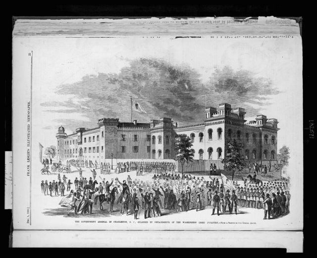 The government arsenal in Charleston, S.C., guarded by detachments of the Washington Light Infantry / from a sketch by our special artist.