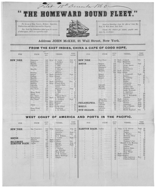 """""""The homeward bound fleet."""" For the use of ship owners, brokers, importers, underwriters and others interested in shipping. Issued on Saturdays from the office of John McKee, 91 Wall Street. New York December 15, 1860."""