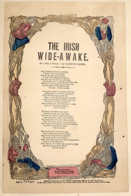 The Irish wide-awake. Air: Billy O. Rourke. By Harry M. Palmer. H. De Marsan, Publisher, 38 & 60 Chatham Street, N. Y