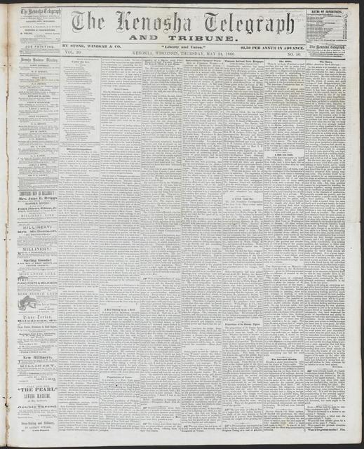 The Kenosha Telegraph, [newspaper]. May 24, 1860.