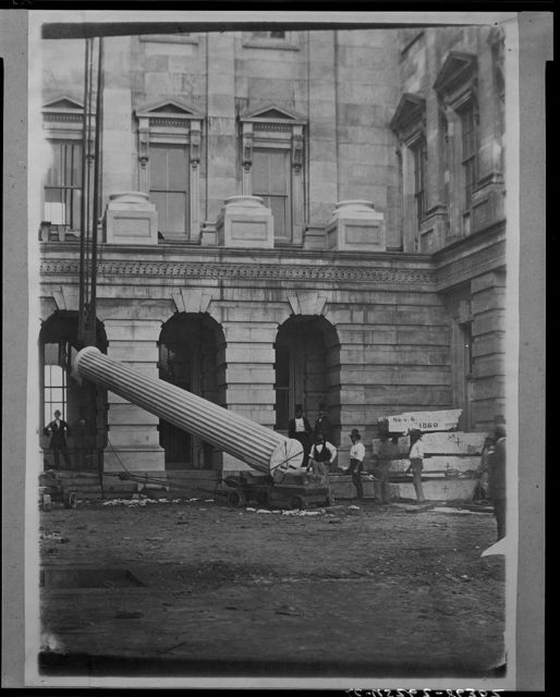 """The """"Lincoln column,"""" first monolith raised, Nov. 1860, Presidential election, being S. column of connecting corridor"""