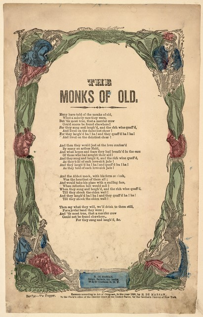 The monks of old. H. De Marsan, Publisher, 38 & 60 Chatham Street, N. Y