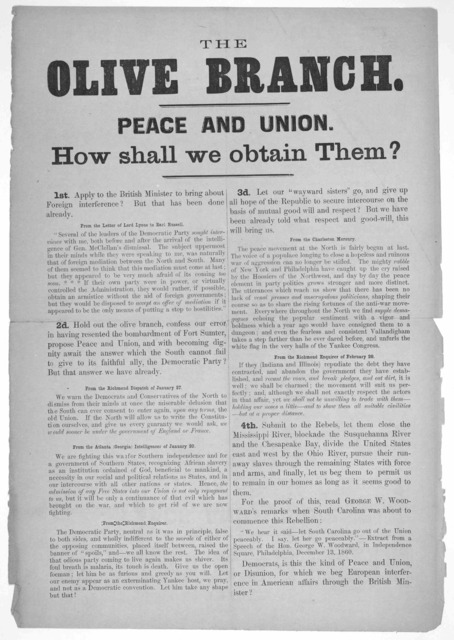 The olive branch. Peace and union. How shall we obtain them? ... [n. p. 186-].