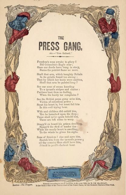 The press gang. Air: Tom Haliard. H. De Marsan, Publisher, 38 Chatham Street, N. Y. [c. 1860]