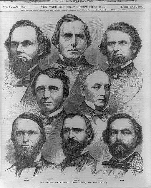 The seceding South Carolina delegation. Keitt, Boyce, Chestnut, M'Queen, Ashmore, Hammond, Bonham, Miles